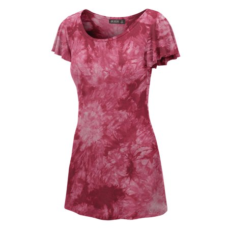 Made by Johnny MBJ WT1108 Womens Tie Dye Round Neck Short Ruffle Sleeve Tunic Top XL Wine (Ruffle Bottom Tunic)