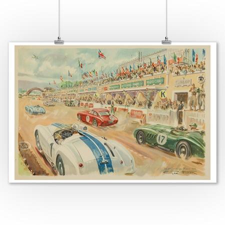 24 Heures du Mans 1952 Vintage Poster (artist: Geo Ham) France c. 1952 (9x12 Art Print, Wall Decor Travel (Vintage Gem)