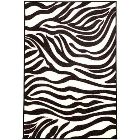 Ottomanson Pink Collection White Black Animal Print Zebra Design Area Rug 3