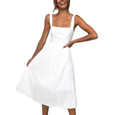 Womens Summer Simple Strap Square Neck Off Shoulder Plain Sling Dress Casual Party Swing Midi Tunic Swing Sun Dress ()