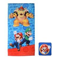 Super Mario Kids 2Pc Bath Towel and Wash Cloth Set, 1 Set Each