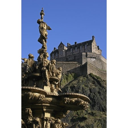 Posterazzi Edinburgh Castle And The Ross Fountain As Seen From Princes Street Gardens Canvas Art - Mark Thomas  Design Pics (24 x 38)](Fountain Valley Halloween Street)