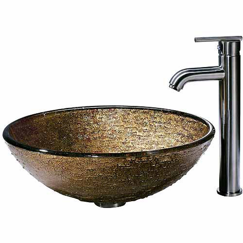 Vigo Textured Copper Glass Vessel Sink and Faucet Set, Brushed Nickel