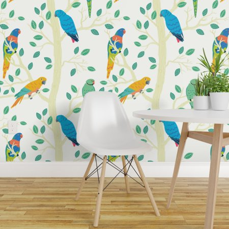 Removable Water Activated Wallpaper Colorful Birds Tropical Tree Natur