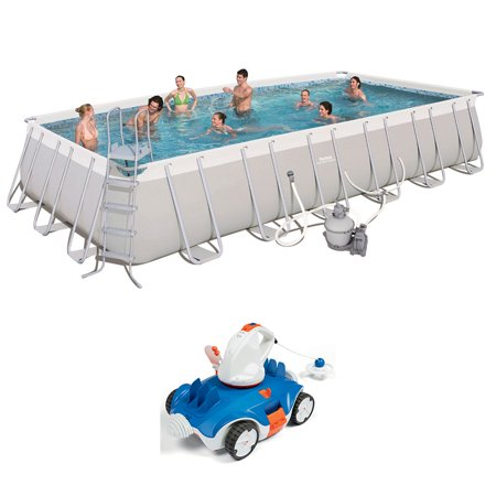Bestway 24ft x 12ft x 52in Above Ground Swimming Pool w/ Cordless Cleaning (Best Way To Clean White Woodwork)