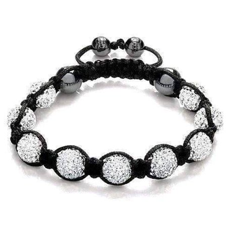 ON SALE - Sparkly White Crystals Hand Made Shamballa Bracelet White