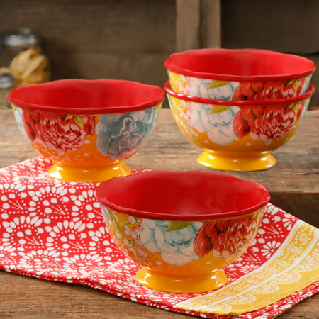 The Pioneer Woman Blossom Jubilee Footed Bowl, Set of 4