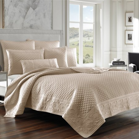 Sateen Quilt (Zarah Satin Embroidered Coverlet by Five Queens Court)