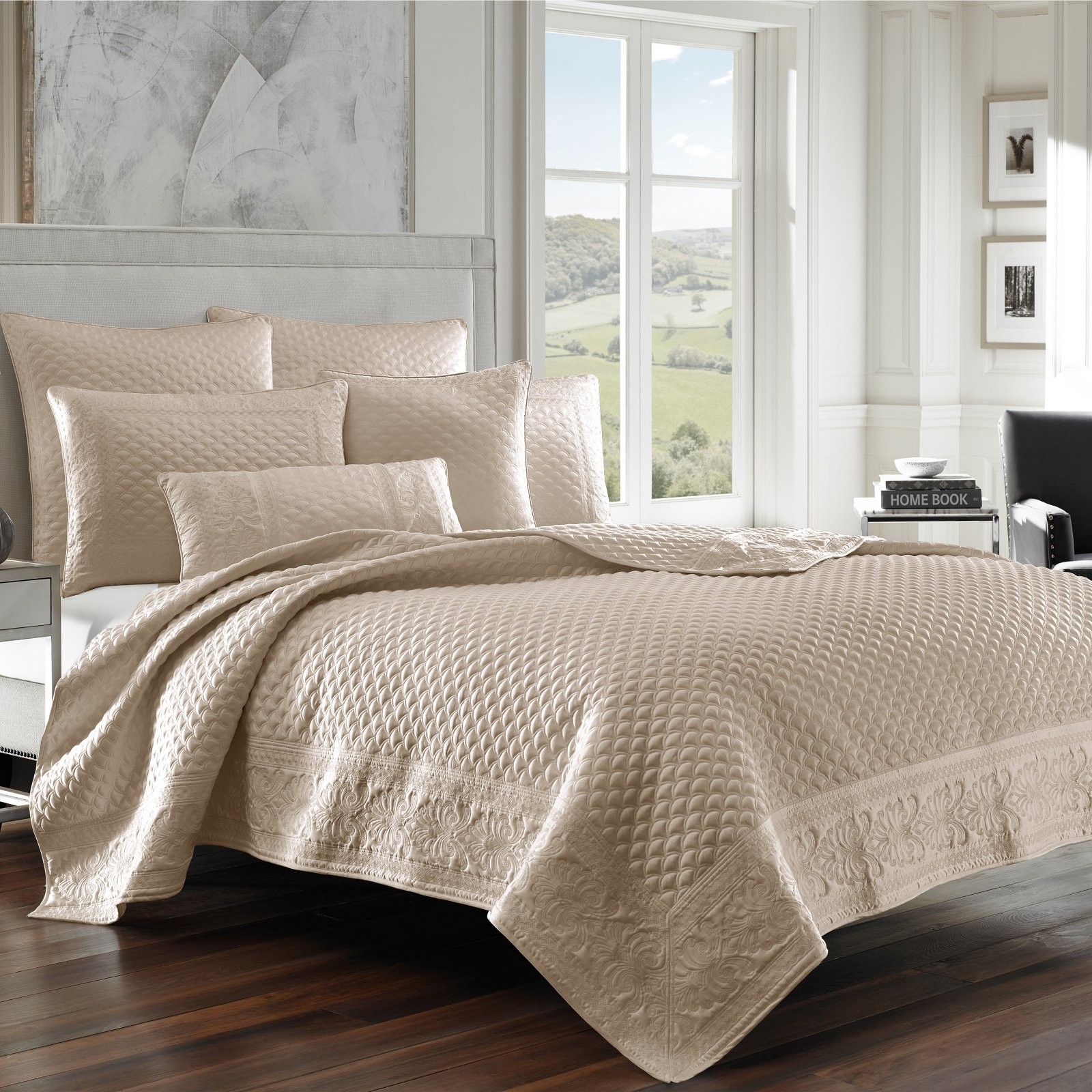 Zarah Satin Embroidered Coverlet by Five Queens Court