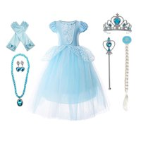 9-layers Tulle Skirt Princess Cinderella Costume Girls Dress Up With Accessories 3-12 Years