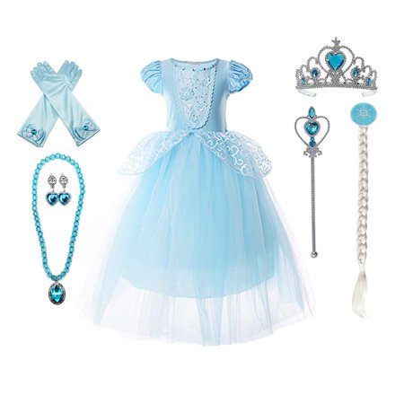 Cinderella Halloween Costume Change (9-layers Tulle Skirt Princess Cinderella Costume Girls Dress Up With Accessories 3-12)