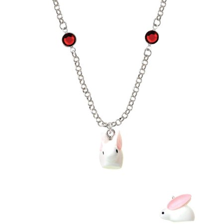 Resin White Big Ear Bunny Red Crystal Fiona Necklace - Red Bunny Ears