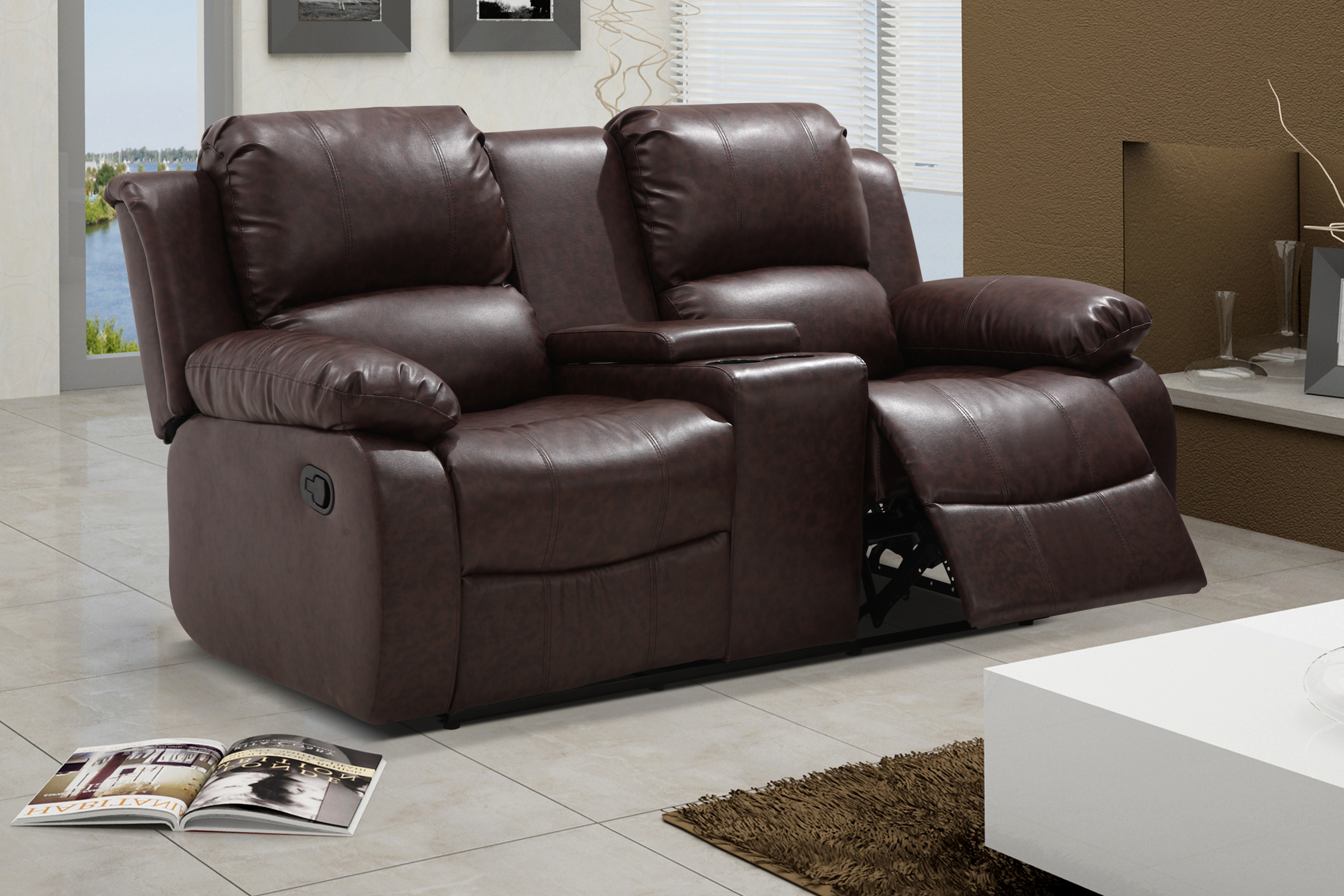 UFE Zoey Bonded Leather Reclining Loveseat with Center Console