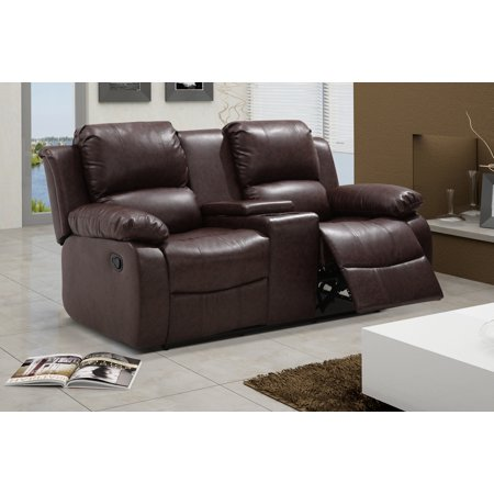 UFE Zoey Bonded Leather Reclining Loveseat with Center Console, Brown