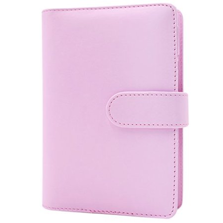 personal leather spiral notebook journal 6 ring refillable binder diary  planner with pen loop&inner pocket,a6/7 48x4 92 inch,pink