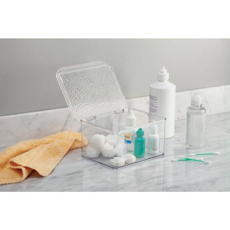 Rain Stackable Vanity Box - Small InterDesign's Rain Stackable Vanity Box provides a clean, dry place to store items in your bathroom. Keep cotton balls, beauty products, makeup, contact solution or contact lenses within reach. This vanity box has an easy-open hinged lid and is made of durable plastic.