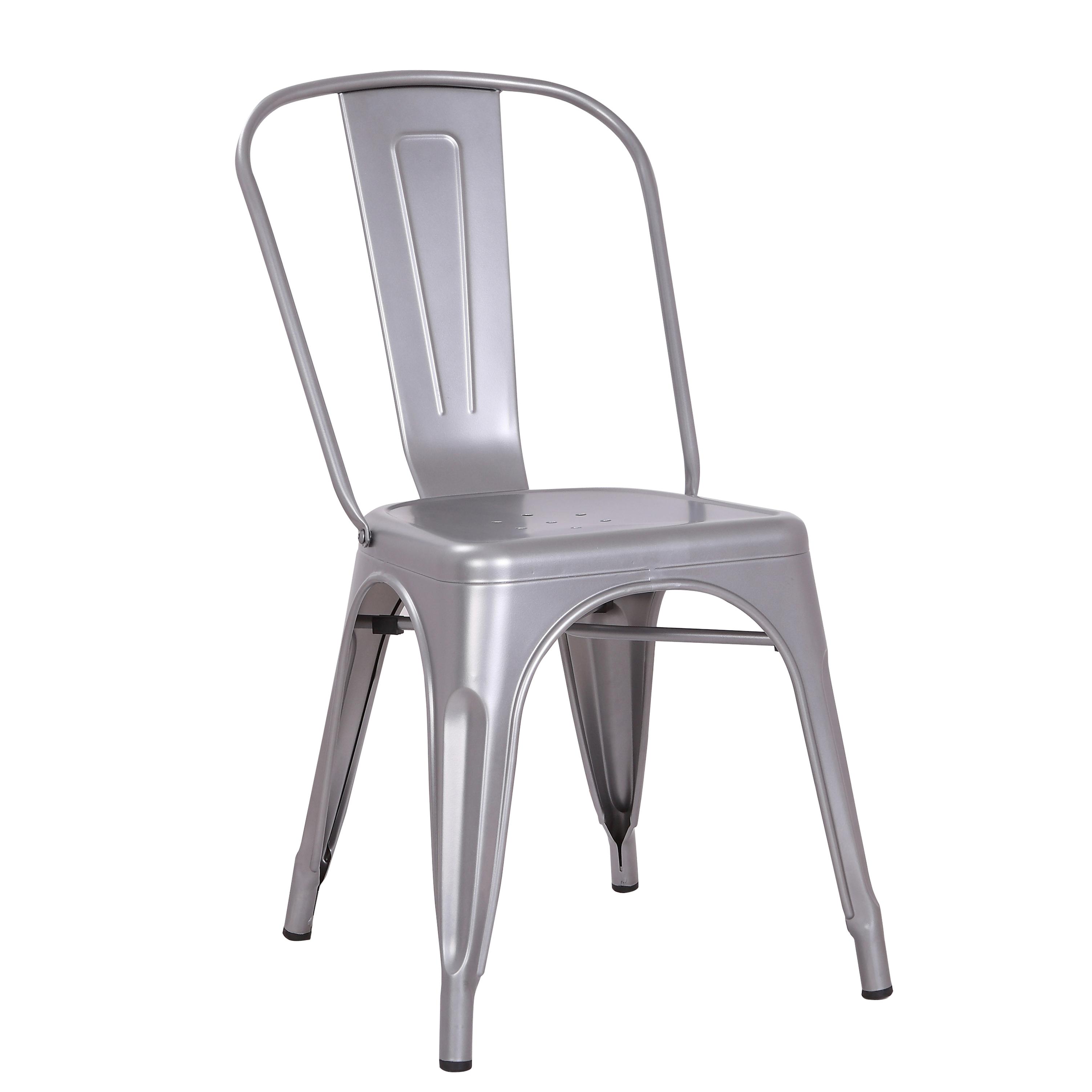 Modern Distressed Matte Grey Metal Dining Room Kitchen Bar Chair 18