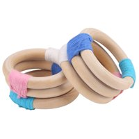 WALFRONT 2 PCS Wooden Teether Baby Toy Natural Wooden Wool Crochet Baby, Wooden Wool Teether, Crochet Teether Tool
