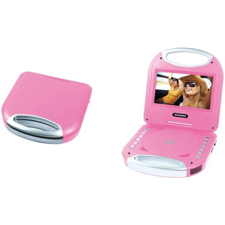 sylvania sdvd7049 pink portable dvd player with integrated handle pink 7 in. Black Bedroom Furniture Sets. Home Design Ideas