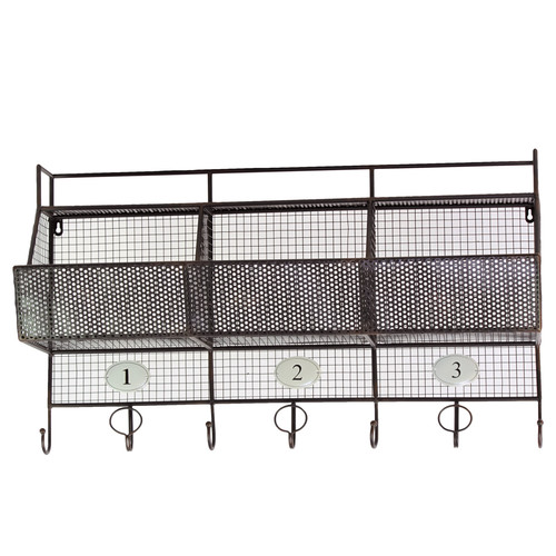 Urban Trends Metal Shelf and Coat Hanger with Mesh Backing, 3 Numbered Shelves and 7 Hooks Black
