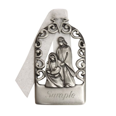Genuine Pewter Personalized Nativity Christmas Ornament