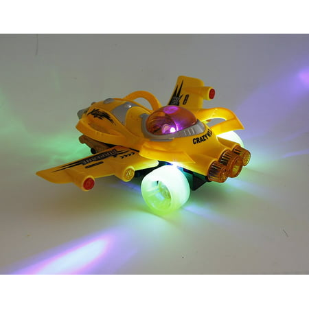 Bezrat Bump And Go Kids Action Space Battleplane - Big Model Plane With Attractive Lights And Sounds - Changes Direction On Contact - Best For Kids Age 3 And Up. (Colors May