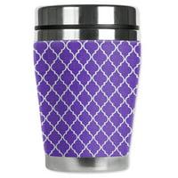 Mugzie brand 12-Ounce Travel Mug with Insulated Wetsuit Cover - Purple Geometric