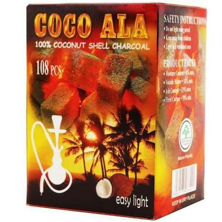 Coco Ala Charcoal Natural Coconut Hookah Shisha Coals, 108