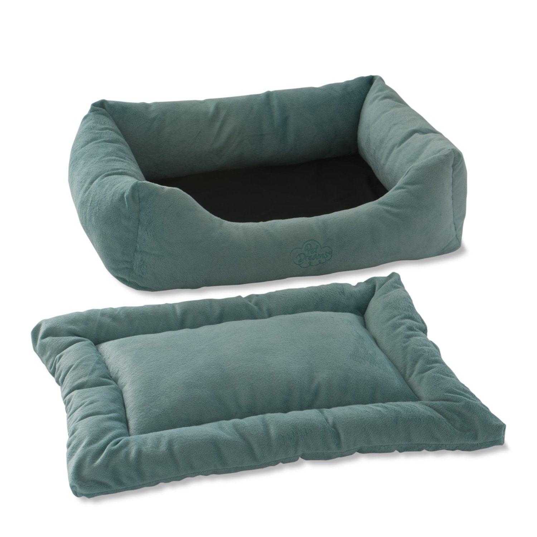 Pet Dreams 2-in-1 Plush Bumper Dog Bed, Small, Blue