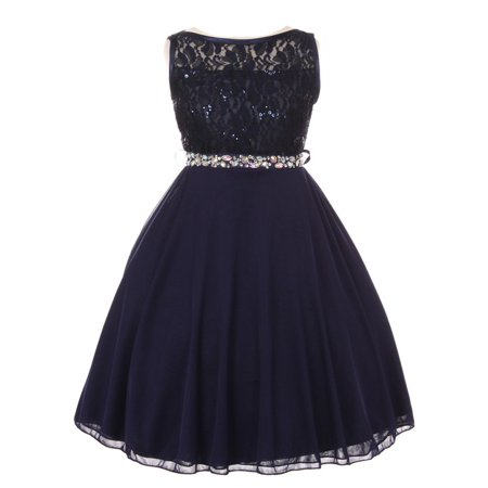 Girls Navy Sparkle Sequin Lace Chiffon Occasion Dress