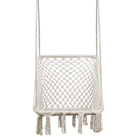 Hammock Chair Swing - Square Ergonomic Comfortable Bohemian Design, Handmade Cotton Rope