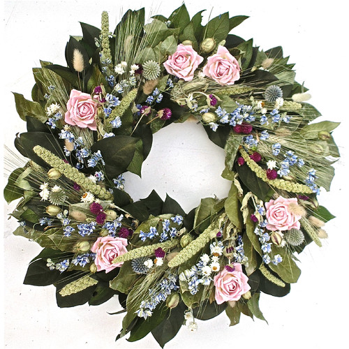 Dried Flowers and Wreaths LLC 22'' Miniature Rose and Globe Thistle Wreath
