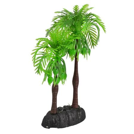 Unique Bargains Manmade Green Plastic Coconut Tree Plant Aquarium Fish Tank Ornament 5.5