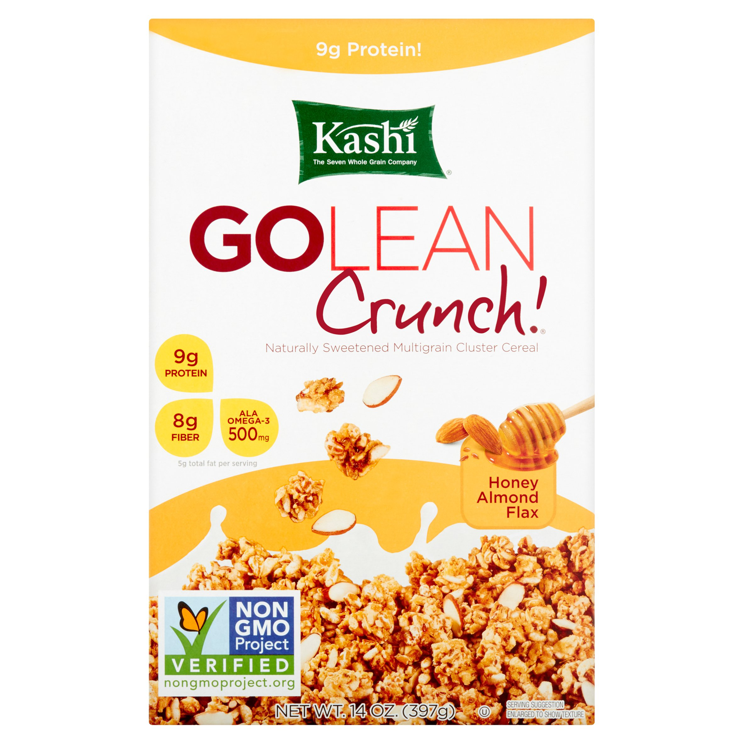 Kashi Go Lean Crunch! Naturally Sweetened Multigrain Cluster Cereal Honey Almond Flax 14oz