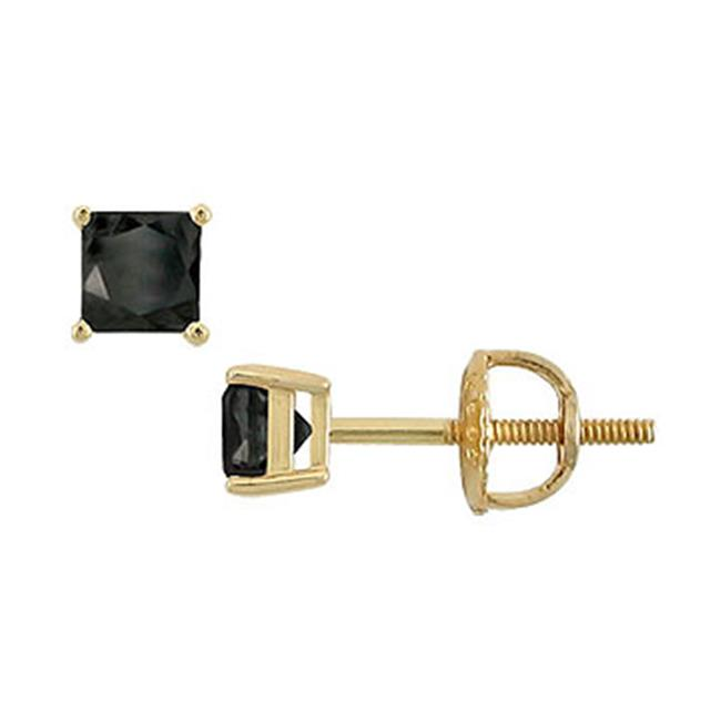 Fine Jewelry Vault SCER14YGSQ050BD 14K Yellow Gold - Princess Cut Black Diamond Stud Earrings - 0. 50 CT.  TW.