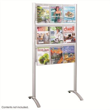 Nine Pocket Magazine Rack - Pemberly Row 9 pocket Magazine Floor Rack in Silver