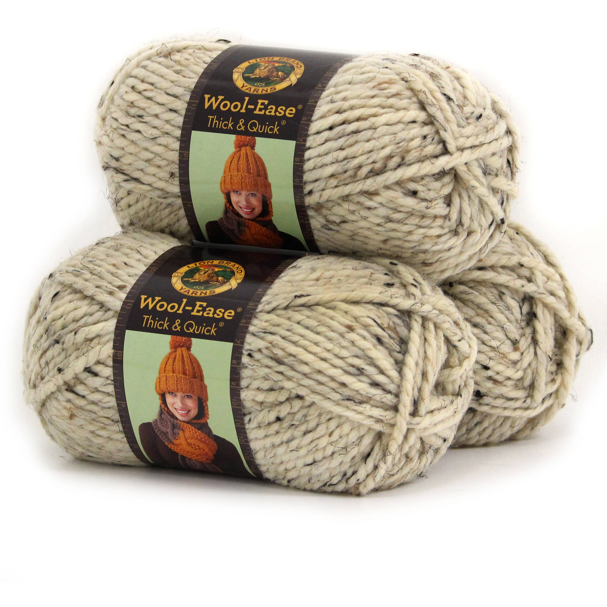 Lion Brand Wool Ease Thick and Quick Yarn, Wool/Acrylic Blend, Pack of 3