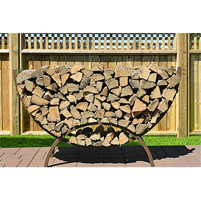 Alexander Manufacturing 60 CRES BR Medium Woodhaven Crescent Firewood Rack with Standard Cover - Brown