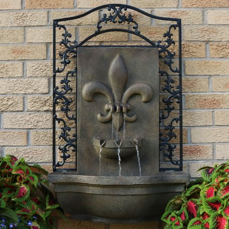 Bronze Frogs Lily Pad - Sunnydaze French Lily Outdoor Wall Water Fountain, with Electric Submersible Pump, Florentine Stone, 33 Inch