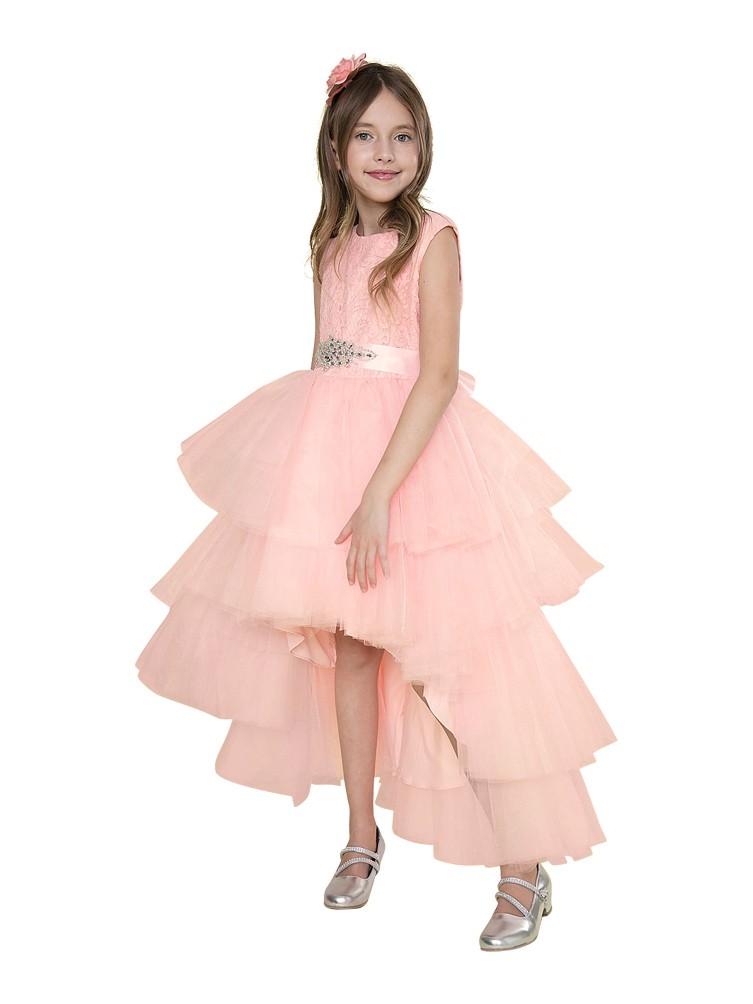 Girls Blush Pink Lace Jeweled Waist Hi-Low Junior Bridesmaid Dress