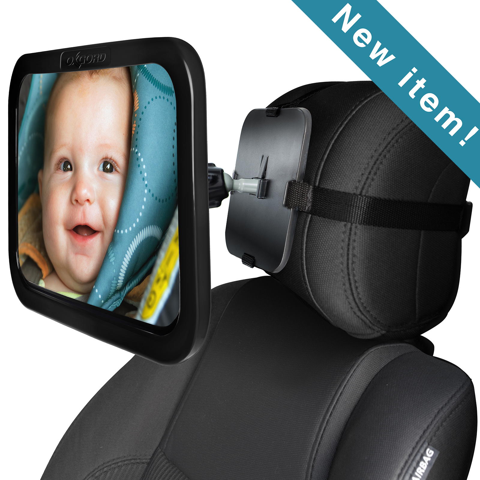 OxGord Baby Car Mirror for Rear Facing Backseat Carseat for Infant & Toddler - 360 Adjustable & Double Straps
