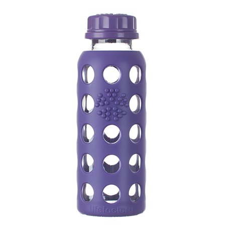 Lifefactor Glass Bottle with Flat Cap and Protective Silicone Sleeve, Royal Purple, 9 Oz