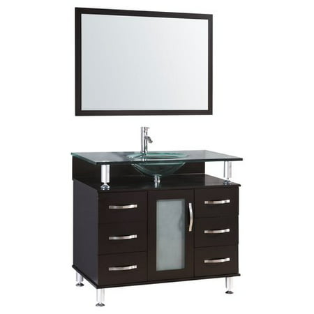 LessCare 36'' Single Glass Top Vanity Set with Mirror