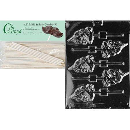 Cybrtrayd 45St50-A008 Unicorn Lolly Animal Chocolate Candy Mold with 50 4.5-Inch Lollipop Sticks