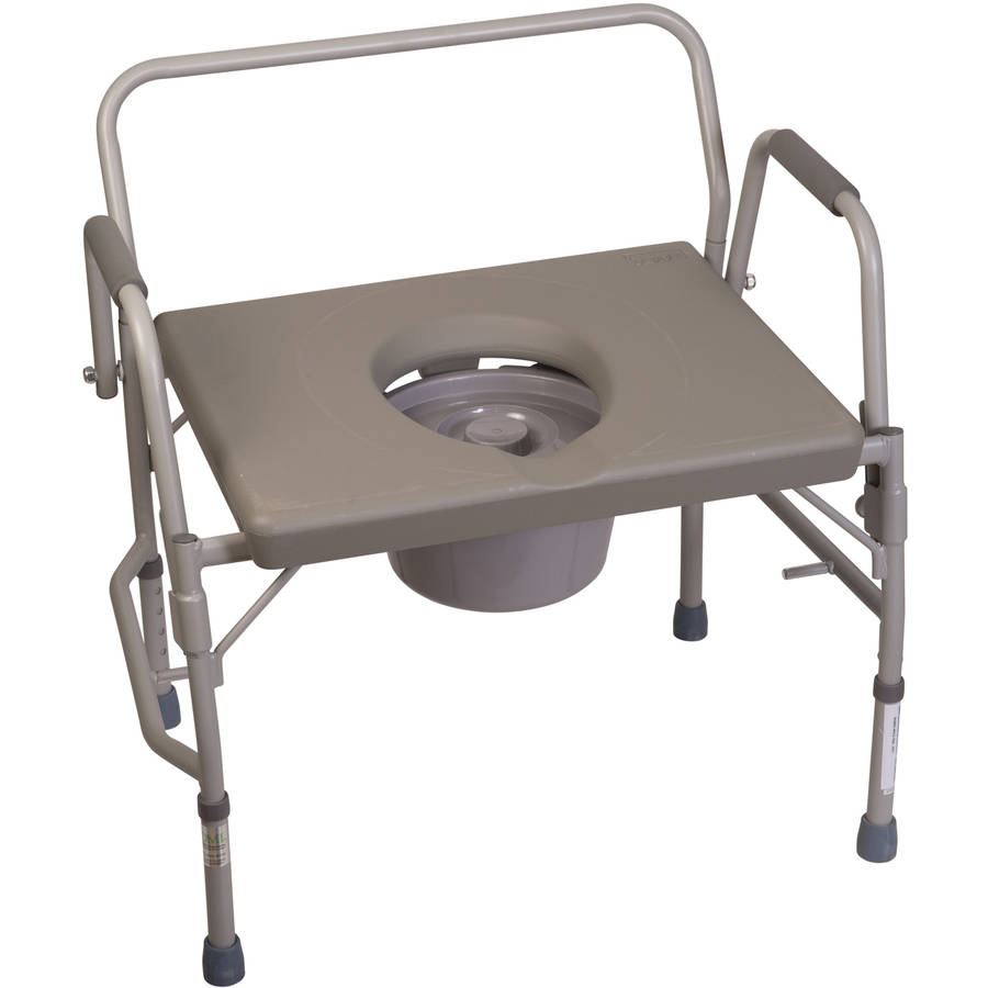 DMI Bedside Commode Chair for Adults, Drop Arm Bariatric Potty Chair, Extra Wide Adjustable Toilet Commode, Gray