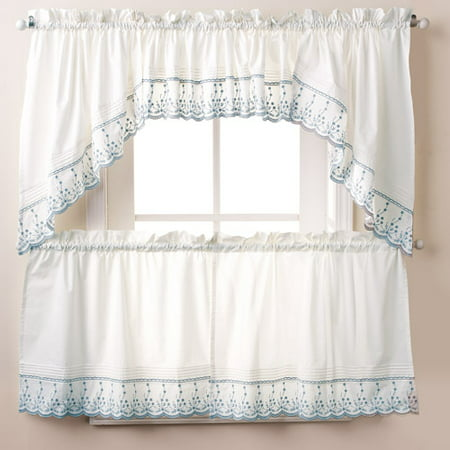 - Abby Kitchen Curtain Tier Swag Pair or Valance Wedgewood