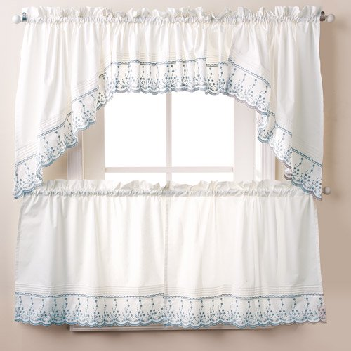 abby kitchen curtains swag or valence wedgewood walmartcom - Kitchen Curtains Walmart