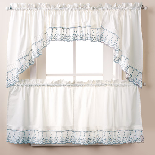 Abby Kitchen Curtain Tier Swag Pair or Valance Wedgewood