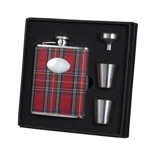 Visol Products Scrooge Red Plaid Wrapped Stainless Steel Deluxe Flask Gift Set