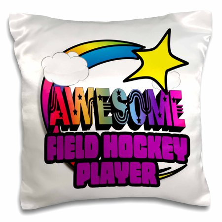 3dRose Shooting Star Rainbow Awesome Field Hockey Player, Pillow Case, 16 by